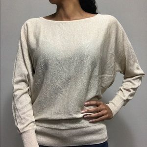 New York & Company Shimmery Gold Sweater